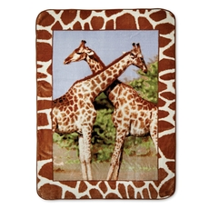 Shavel Micro Flannel® Hi-Pile Oversize Throw - Giraffes