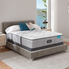 Full Simmons Beautyrest Harmony Lux HLC-1000 Plush 13.75 Inch Mattress Set with Low Profile Foundation