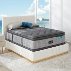 Cal King Simmons Beautyrest Harmony Lux HLD-2000 Medium Pillow Top 17.25 Inch Mattress Set with Low Profile Foundation