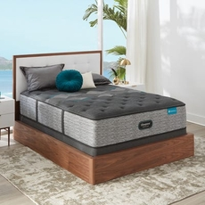 Cal King Simmons Beautyrest Harmony Lux HLD-2000 Plush 15 Inch Mattress Set with Low Profile Foundation