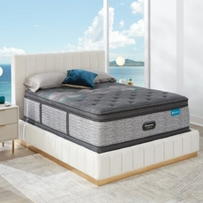Full Simmons Beautyrest Harmony Lux HLD-2000 Plush Pillow Top 17.5 Inch Mattress Set with Low Profile Foundation