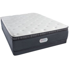 Queen Simmons Beautyrest Platinum Spring Grove Luxury Firm Pillow Top 15 Inch Mattress Set with Low Profile Box Spring