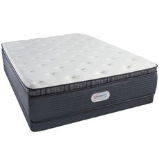 Full Simmons Beautyrest Platinum Spring Grove Plush Pillow Top 15 Inch Mattress Set with Low Profile Box Spring
