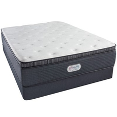 Full Simmons Beautyrest Platinum Spring Grove Plush Pillow Top 15 Inch Mattress Set with Regular Height Box Spring