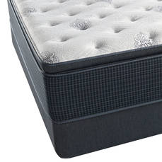 Queen Simmons Beautyrest Silver Kenosha Place III Plush Pillow Top Mattress with SmartMotion 1.0 Adjustable Base
