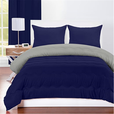 SIS Covers Crayola Full/Queen Reversible Comforter Set in Navy Blue and Timberwolf