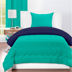 SIS Covers Crayola Twin Reversible Comforter Set in Blue Green and Navy Blue