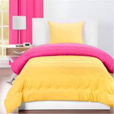 SIS Covers Crayola Twin Reversible Comforter Set in Hot Magenta and Laser Lemon