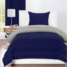 SIS Covers Crayola Twin Reversible Comforter Set in Navy Blue and Timberwolf