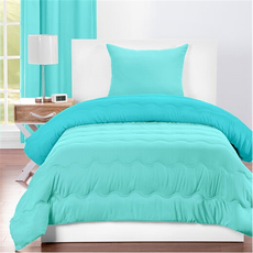 SIS Covers Crayola Twin Reversible Comforter Set in Robin's Egg Blue and Turquoise Blue