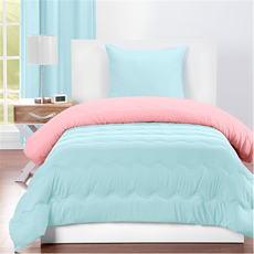 SIS Covers Crayola Twin Reversible Comforter Set in Sky Blue and Tickle Me Pink
