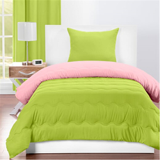 SIS Covers Crayola Twin Reversible Comforter Set in Spring Green and Tickle Me Pink