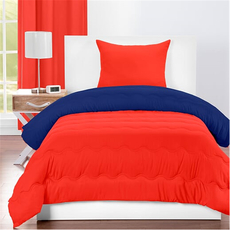 SIS Covers Crayola Twin Reversible Comforter Set in Sunset Orange and Blue Berry Blue