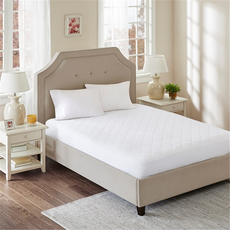 Sleep Philosophy All Natural Twin Cotton Percale Quilted Mattress Pad with Spandex Snug-on Slip Fit Skirt in White by JLA Home