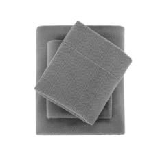 Sleep Philosophy True North Micro Fleece King Sheet Set in Grey by JLA Home