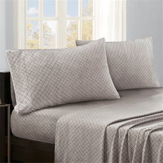 Sleep Philosophy True North Micro Fleece Queen Sheet Set in Grey Diamond by JLA Home
