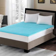 Sleep Philosophy Flexapedic Reversible 1.5 Inch Gel Memory Foam California King Cooling Mattress Topper in Blue by JLA Home
