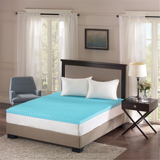 Sleep Philosophy Flexapedic Reversible 3 Inch Gel Memory Foam Queen Cooling Mattress Topper in Blue by JLA Home