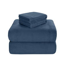 Sleep Philosophy True North Soloft Plush Full Sheet Set in Blue by JLA Home