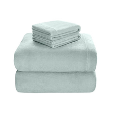 Sleep Philosophy True North Soloft Plush Twin Sheet Set in Aqua by JLA Home