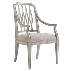 Stanley Charleston Regency Cooper Dining Arm Chair Set of 2 in Gray Linen