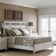 Stanley Cypress Grove Queen Size Wood Panel Bed in Parchment