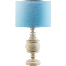 Surya Acacia Table Lamp with Aqua Shade