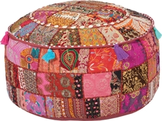 Surya Cotton Pouf 90 in Patchwork Reds