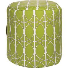 Surya Fabric Pouf 107 in Art Deco Celery Green