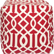 Surya Fabric Pouf 111 in Garden Gate Bold Red