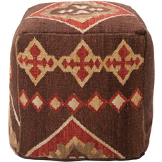Surya Hard Twist Wool Pouf 19 in Southwestern Dark Chocolate