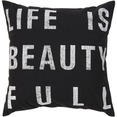 Surya Life is Beauty in Black Accent Pillow