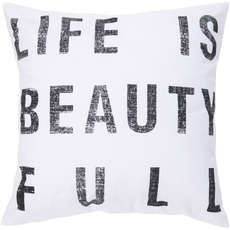 Surya Life is Beauty in Ivory Accent Pillow