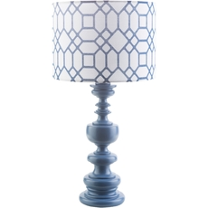 Surya Wilson Table Lamp with Cobalt Print Shade