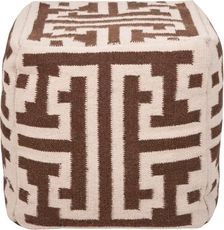 Surya Wool and Cotton Pouf 31 in Greek Key Winter White