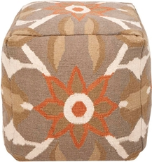 Surya Wool and Cotton Pouf 33 in Southwestern Dusty Green