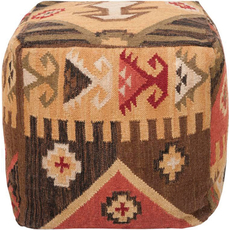 Surya Wool and Cotton Pouf 34 in Southwestern Cumin