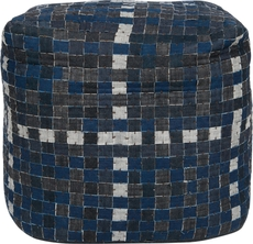 Surya Wool Pouf 102 in Checkboard Denim