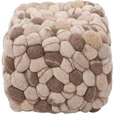 Surya Wool Pouf 14 in Pebbled Brown and Tan