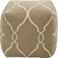 Surya Wool Pouf 15 in Garden Gate Khaki Green