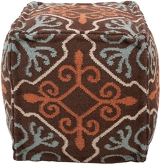 Surya Wool Pouf 18 in Coffee Bean