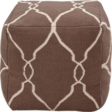 Surya Wool Pouf 21 in Fretwork Dark Chocolate