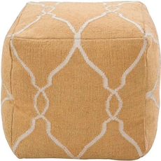 Surya Wool Pouf 22 in Fretwork Golden Yellow