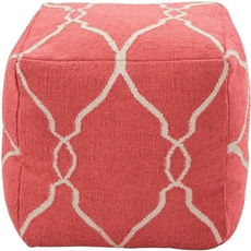 Surya Wool Pouf 23 in Fretwork Paprika