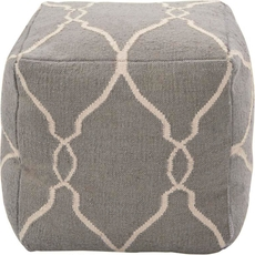 Surya Wool Pouf 24 in Fretwork Elephant Gray