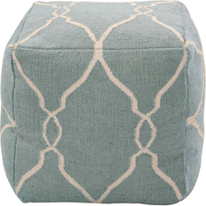 Surya Wool Pouf 25 in Fretwork Slate Blue