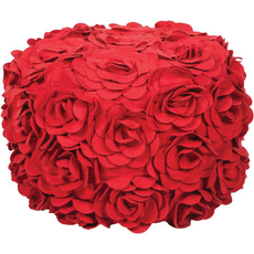 Surya Wool Pouf 27 in Venetian Red Rosettes