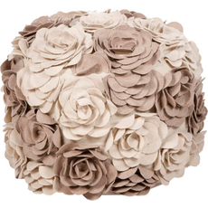 Surya Wool Pouf 28 in Parchment and Cobble Stone Rosettes