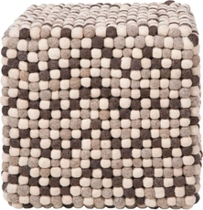 Surya Wool Pouf 30 in Brown and Winter White Marbles