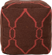 Surya Wool Pouf 47 in Fretwork Dark Chocolate and Cerise